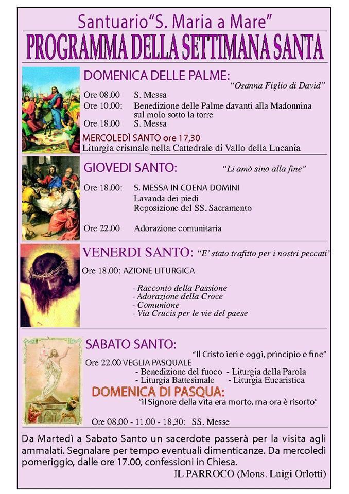 Programma Settimana Santa 2014 Santa Maria a Mare, Santa Maria di Castellabate