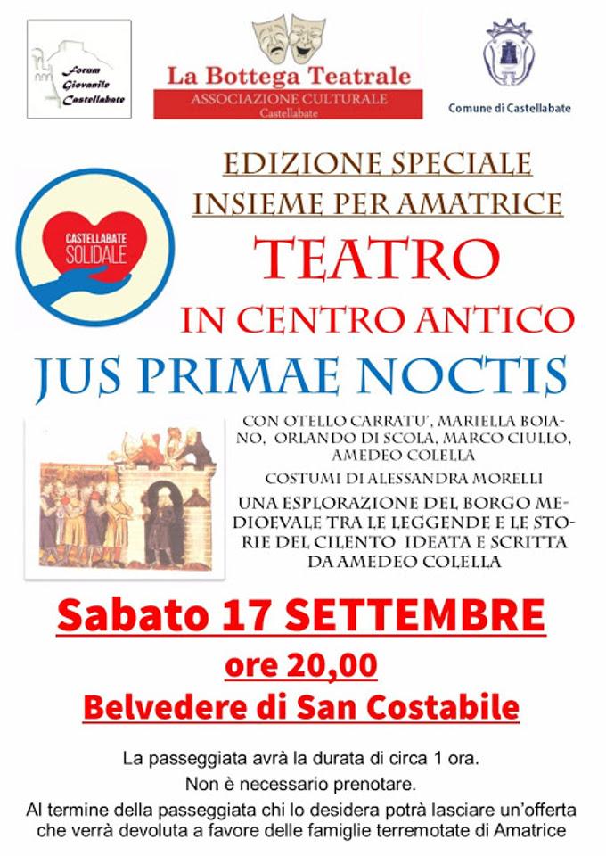 Castellabate teatro in centro antico jus primae noctis